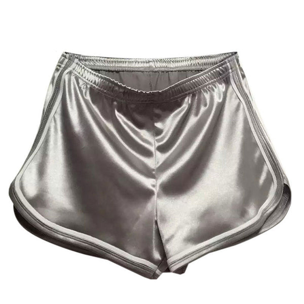 Women's Holographic Contrast Trims Elastic Casual Shorts - 7ucky