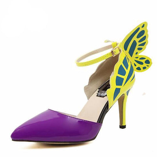 Butterfly Decoration Ankle Strap Heels
