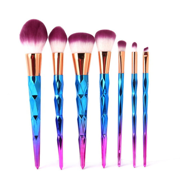 Rainbow Hair Unicorn/Diamond Cosmetic Makeup Brushes Set - 7ucky