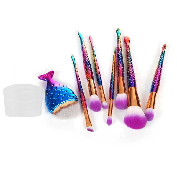 8 Pieces Mermaid Shaped Makeup Brush Set Big Fish Tail - 7ucky