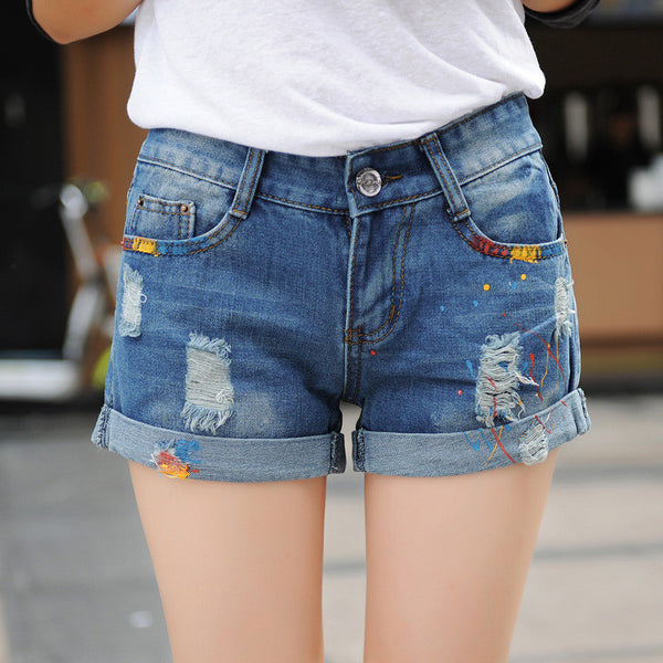 Paint Hole Denim shorts - 7ucky