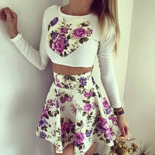 Women's Floral Love Heart Print Long Sleeve Crop Top + Skirt Mini Set - 7ucky