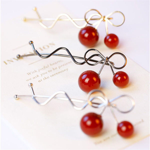 Red Cherry Shaped Bowknot Hairpin - 7ucky