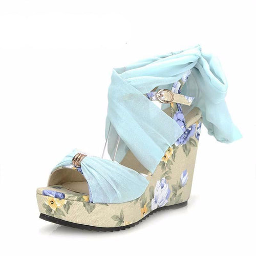 Women's Elegant Ribbon Wedges