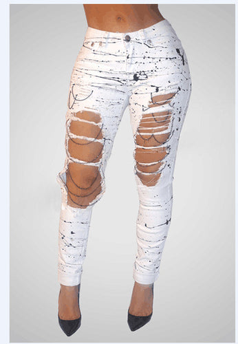 Black and White Paint Splatter Ripped Jeans - 7ucky