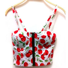 Apple/Rose Print Crop Top Bustier Tank - 7ucky