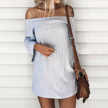 Women's Off Shoulder Long Sleeve Shirt Dress