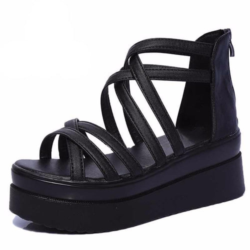 Women's Strapped Gladiator Platform Shoes