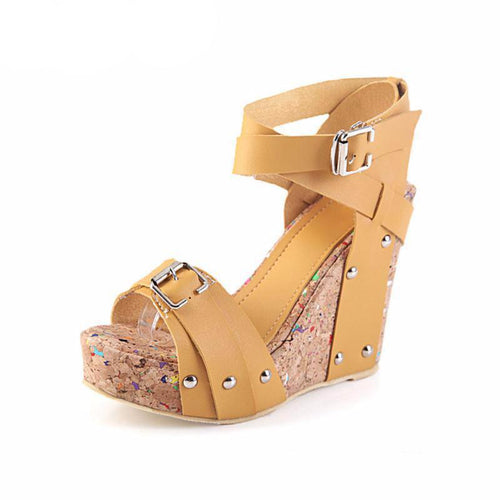 Cork High Heeled Wedges