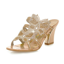 Women's Butterfly Rhinestone Slides
