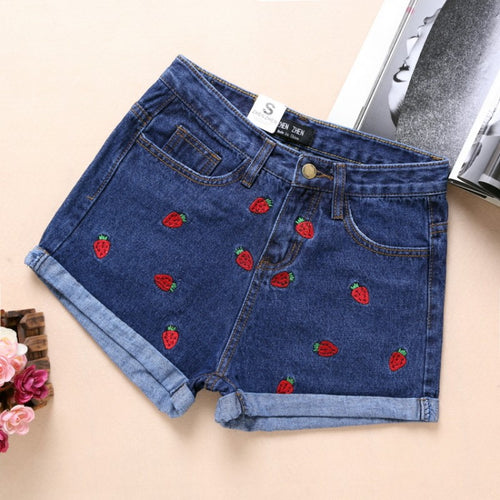 High Waist Strawberry Embroidery Jeans Shorts - 7ucky