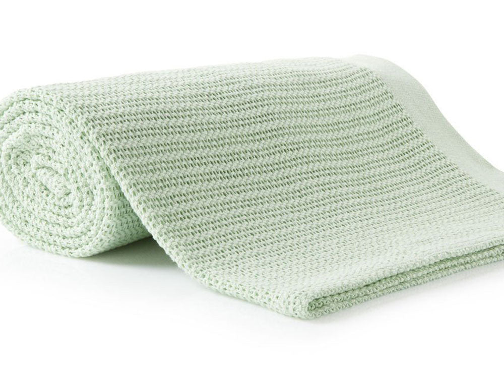 100% Cotton Thermal Cellular Blanket Light Weight Adult Soft Luxury Light Green