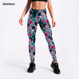 Qickitout Leggings New Arrival Women's legging Fitness Digital Print Pretty Rose White Horse Flying Pants Pencil Trousers