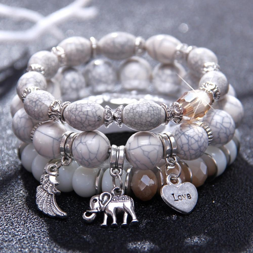 LilliPhant 3 Layers elephant beaded charms bracelet