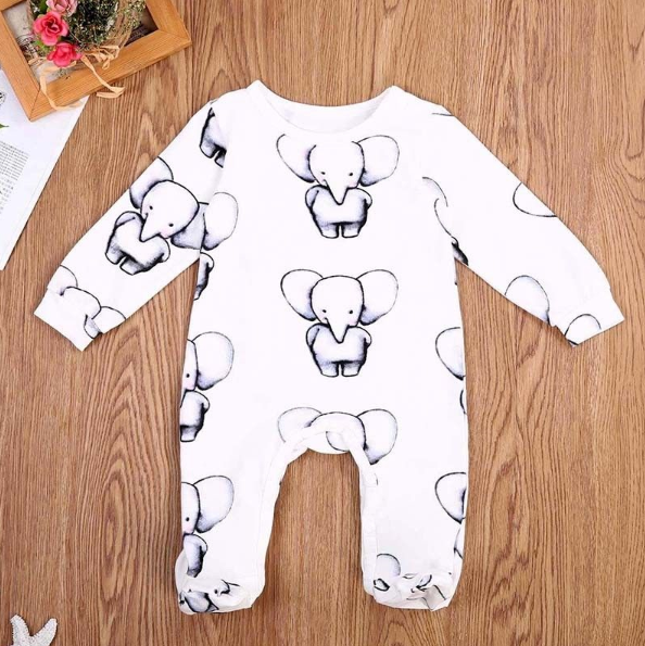 LilliPhant baby Newborn Little Elephant Printed Soft Cotton Jumpsuit