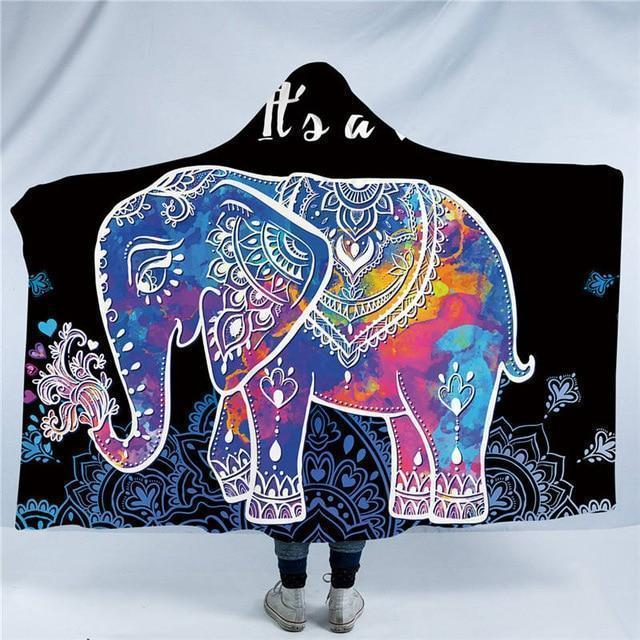 LilliPhant blanket Sherpa Rainbow Elephant Hooded Blanket