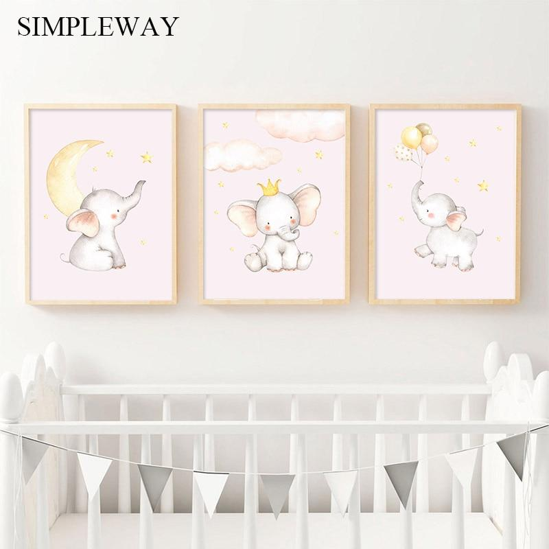 LilliPhant Child Poster Baby Nursery Wall Art Canvas Print Cartoon Animal Elephant Balloon Painting Nordic Kids Bedroom Decoration Picture
