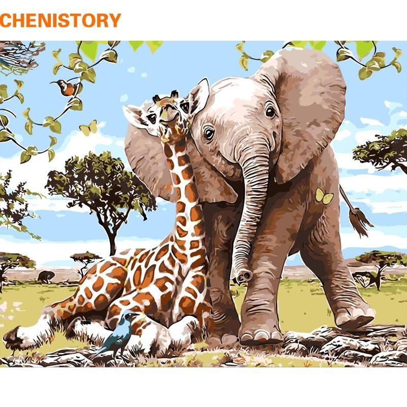 LilliPhant DYI Cute Frameless Elephant Giraff DIY Painting By Numbers Modern - FREE SHIPPING WORLDWIDE