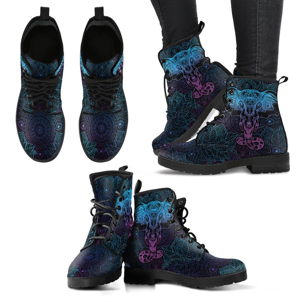 LilliPhant Elephant Lotus Mandala Women's Leather Boots