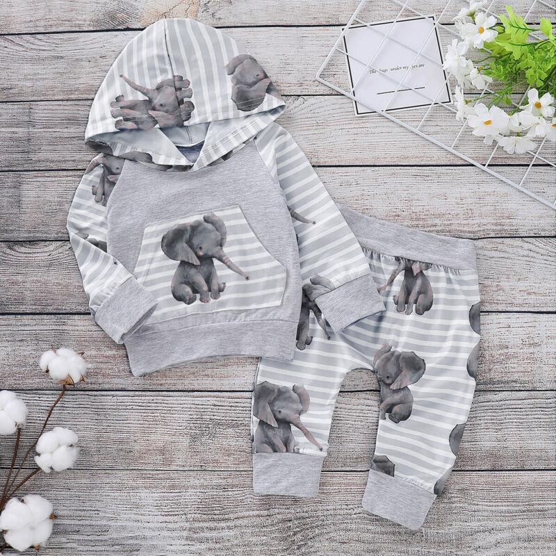 LilliPhant Kids Baby 2 Pcs Hooded Elephant Striped Top & Pants Tracksuit