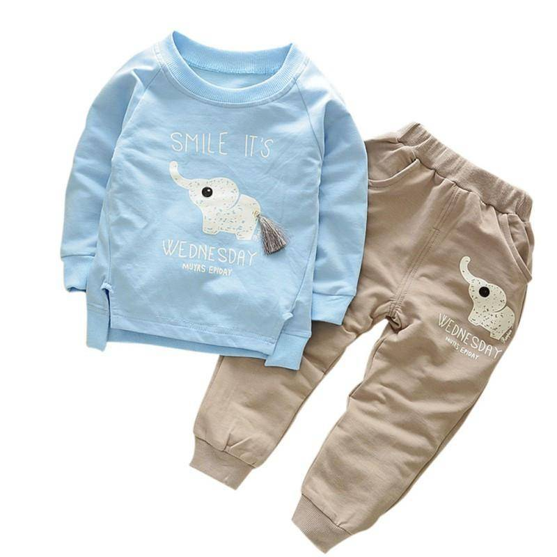 LilliPhant kids Baby Boy Cotton Suit (T-shirt + Pants) - Available in Blue and Green!