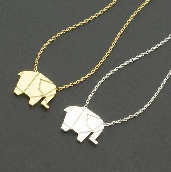 LilliPhant necklace Origami Style Elephant Necklace - Gold or Silver Plated!