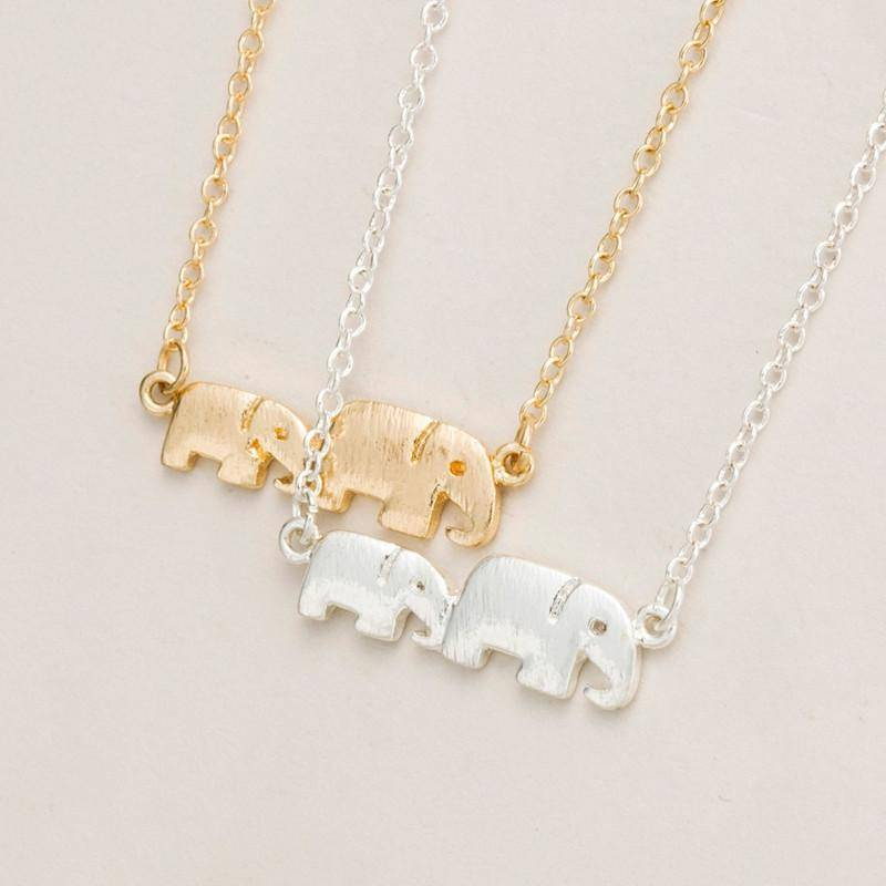 LilliPhant necklace Two Cute Elephants Necklace - Gold or Silver Plated!