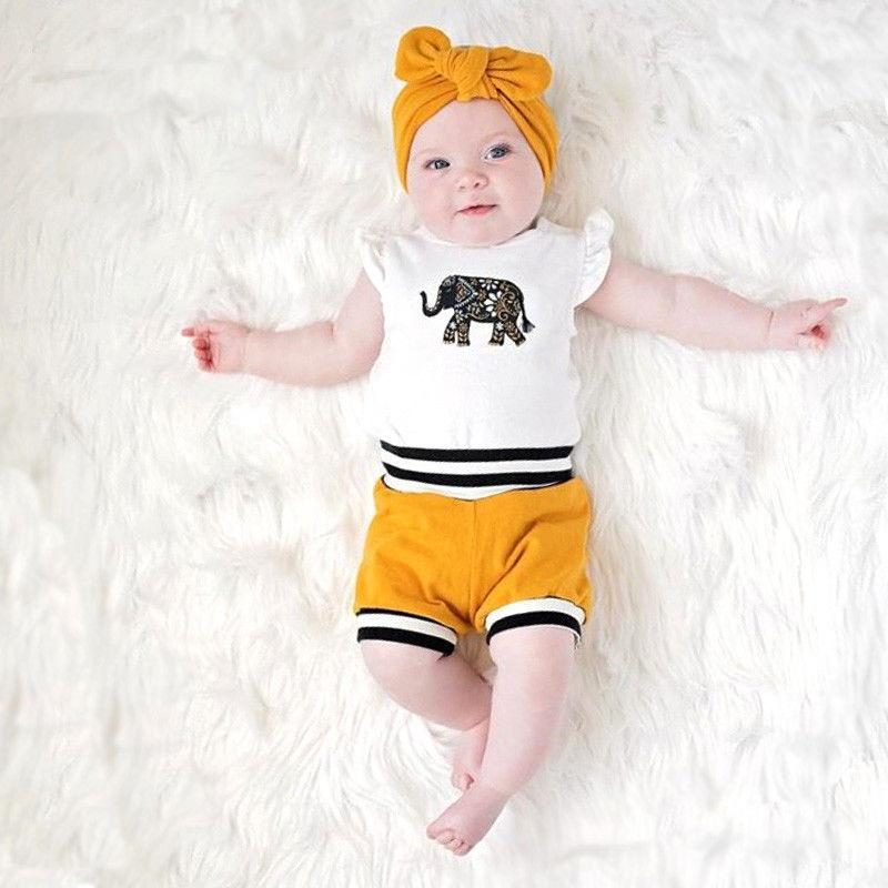 LilliPhant Pudcoco Baby Set 0-18M Newborn Baby Girls Boys Elephant Tops Romper Shorts Bottoms Outfits Set Clothes