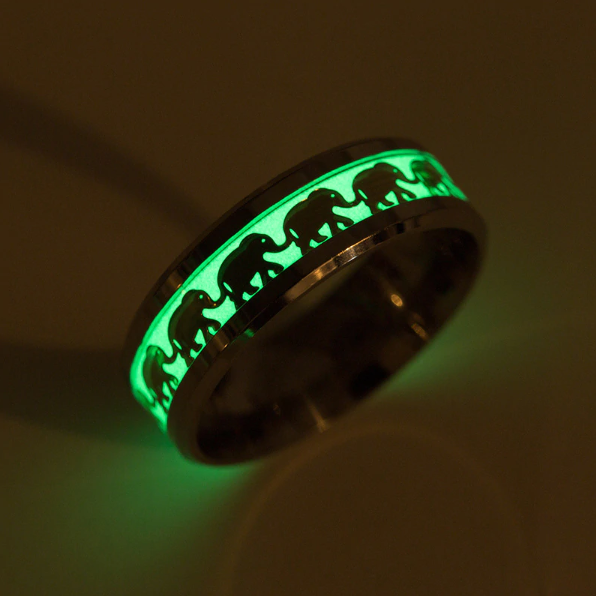 LilliPhant rings 6 / Gold Elephant ring glow in the dark