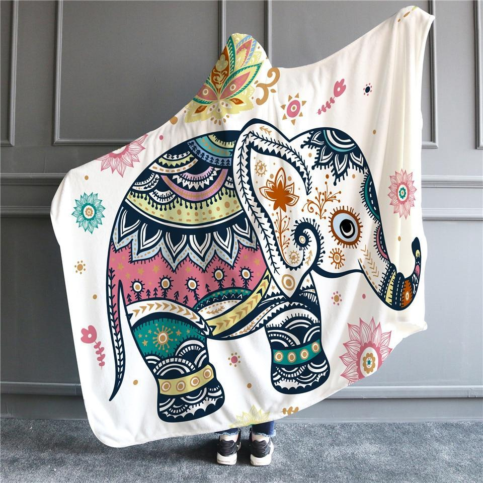 LilliPhant Sherpa Hippie Elephant Hooded Blanket