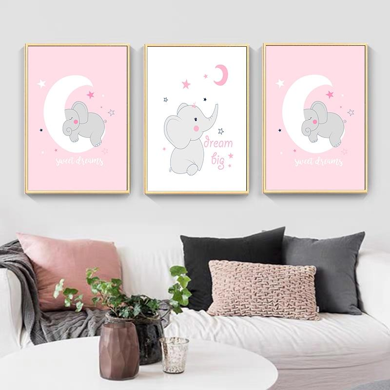 LilliPhant Wall Art Posters Prints Pink Sweet Elephant Dream Pictures For Nursery Decor Canvas Painting Gift Baby Room Home Decorations