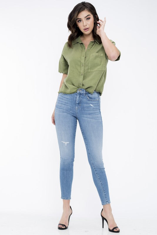 "Lily ""Distressed High Rise Skinny Jeans"""