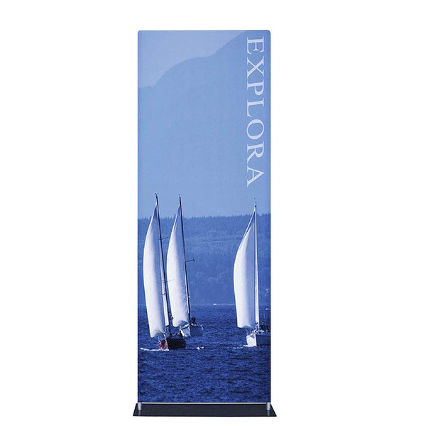 "Explora Tubular Banner Stand w/ Dye-sub Fabric Graphic, 33.5""w x 90""h"