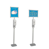Free standing touchless hand sanitizer dispenser with A3 poster frame