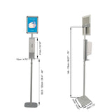 Premium Quality Touchless Hand Sanitizer Dispenser with Floor Stand, with Splash Guard and Poster Frame, Twin-Pack