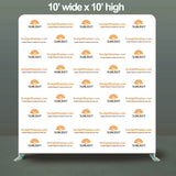 10' High Trade Show Booth Event Backwall Swift Step & Repeat Stand w/ Dye-sub Fabric Backdrop, 10' wide and more.