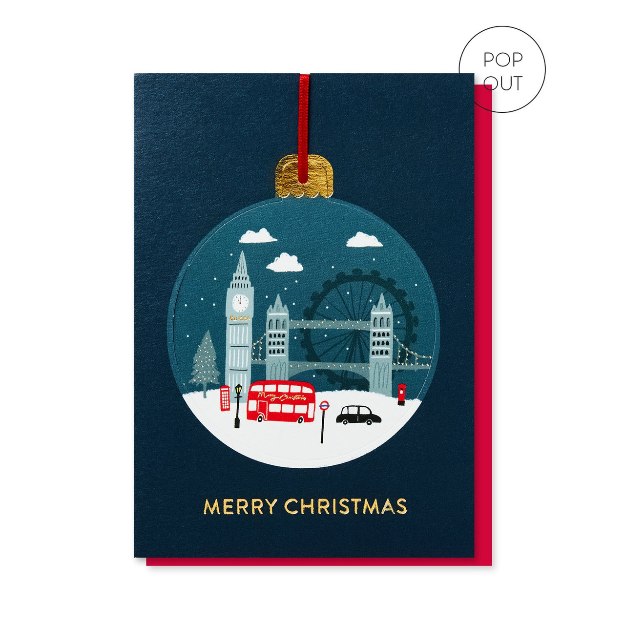 London in the Snow Bauble Christmas card by Stormy Knight.