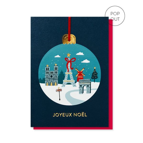 Paris in the Snow Bauble Christmas card by Stormy Knight