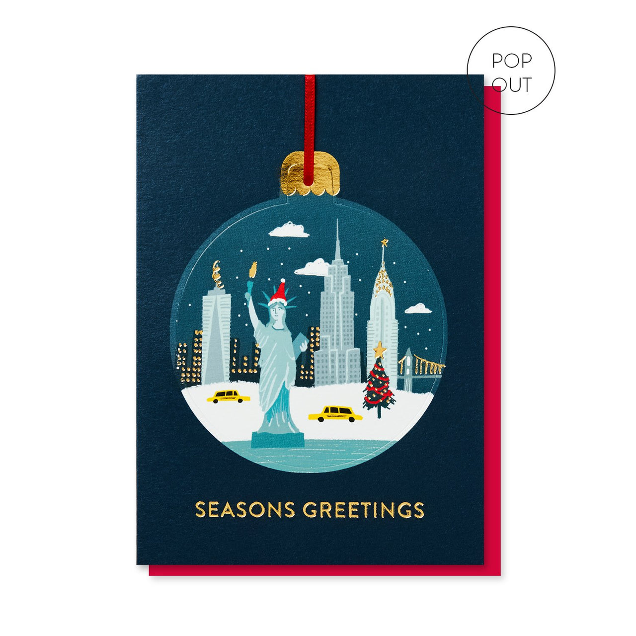 New York in the Snow Bauble Christmas card by Stormy Knight