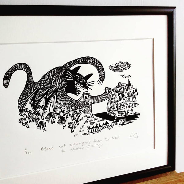 Black Cat Emerging Print