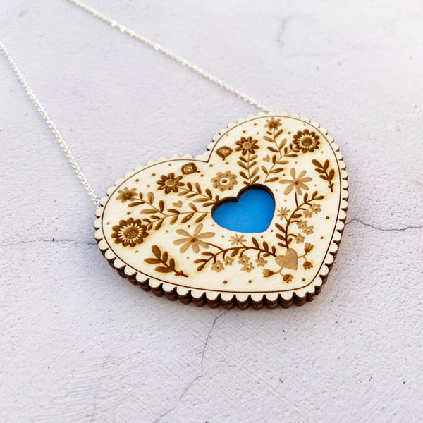 Wooden Folk Heart Necklace - Sky Blue