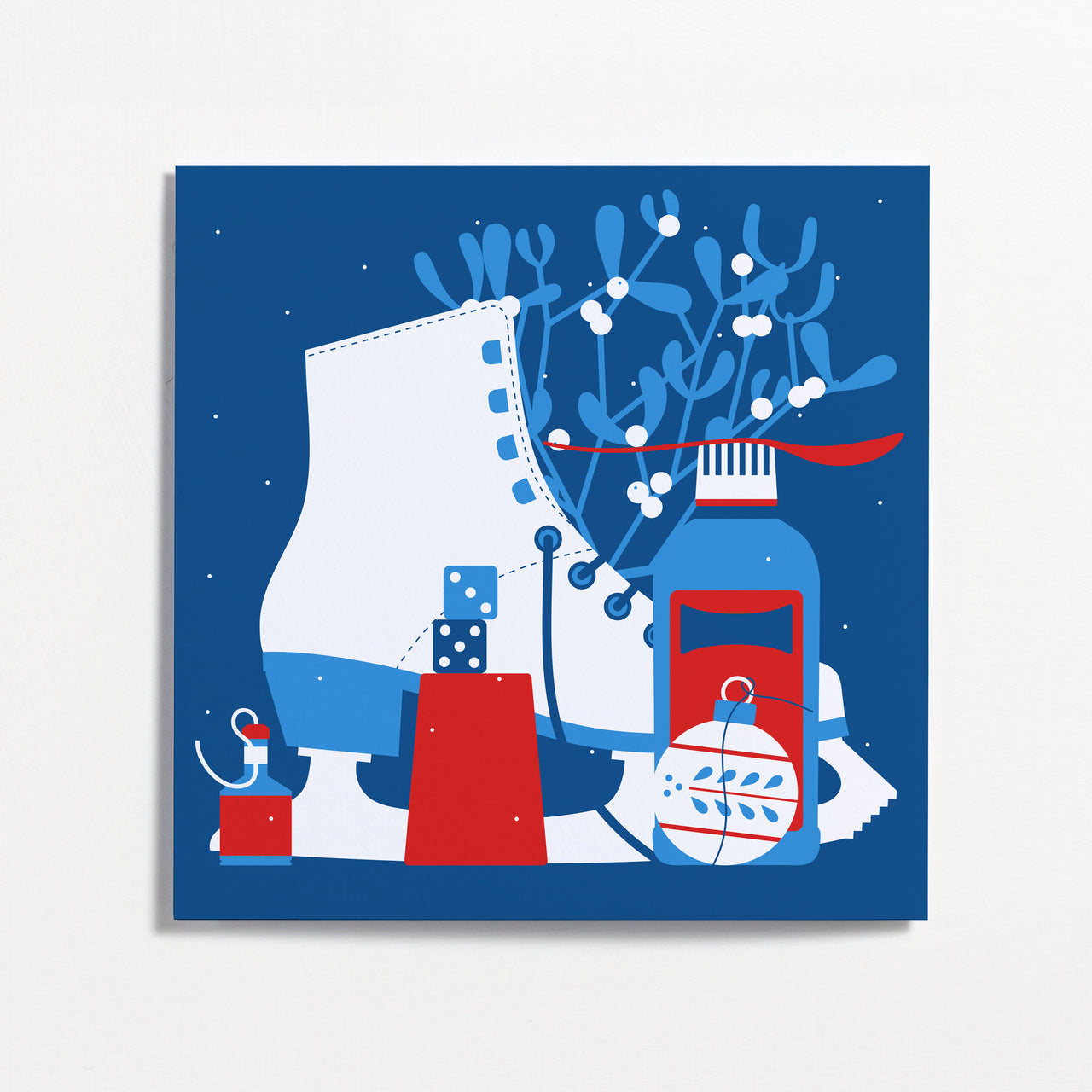Ice Skate Winter Frieze Christmas Card by Crispin Finn