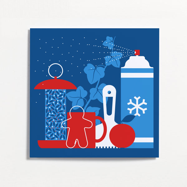 Bird Feeder Winter Frieze Christmas Card by Crispin Finn
