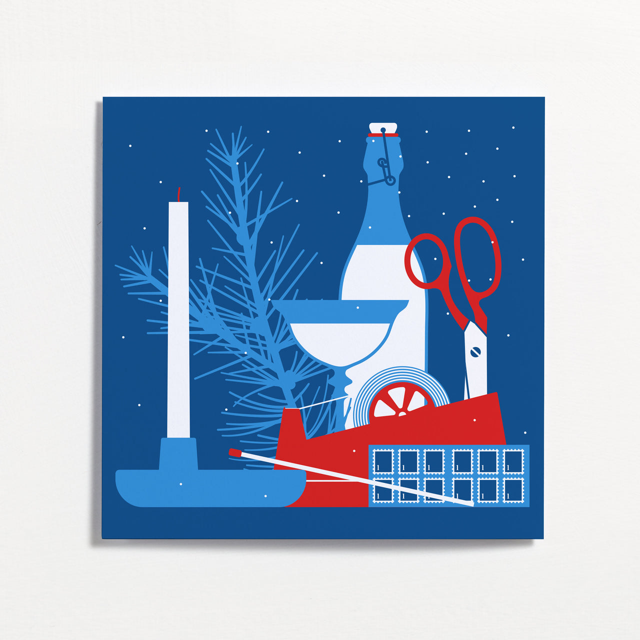 Candle Stick Winter Frieze Christmas Card by Crispin Finn
