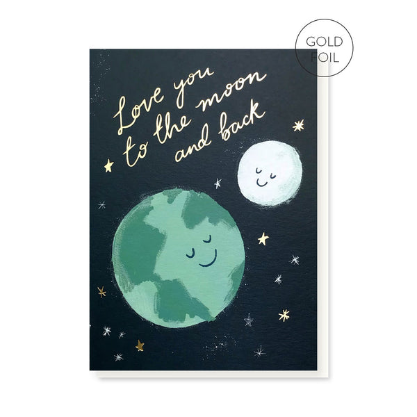 Moon & Back greeting card by Stormy Knight