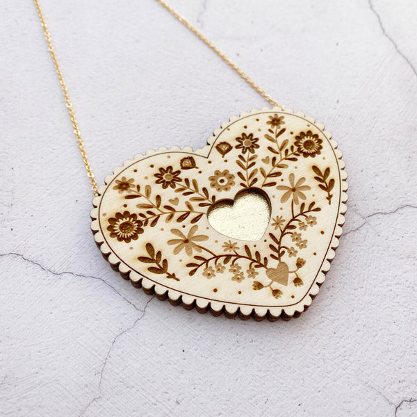 Wooden Folk Heart Necklace - Gold