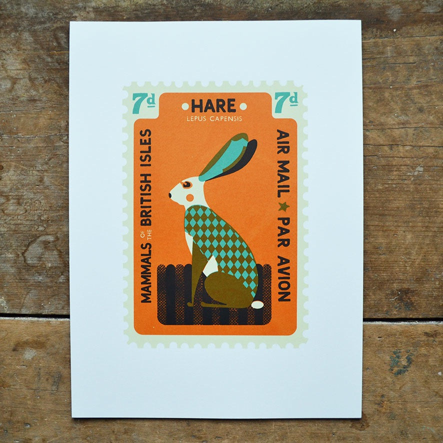 Hare Stamp Print by Tom Frost