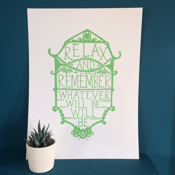 Relax and Remember Green Print