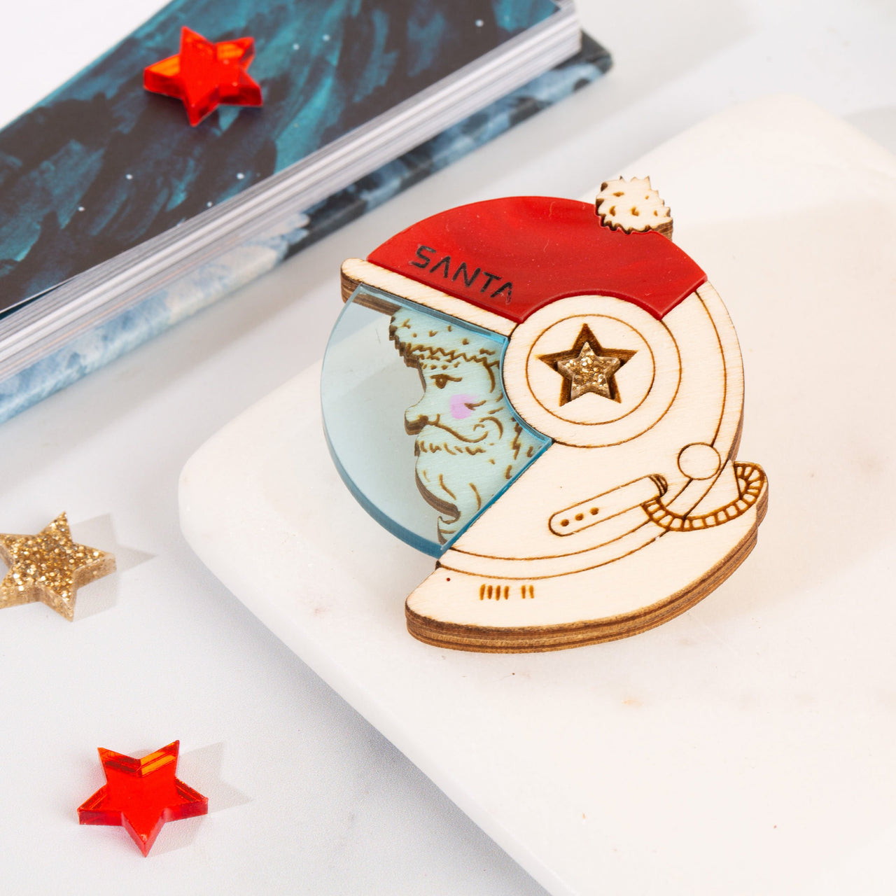 'Santa in Space' brooch by Kate Rowland.