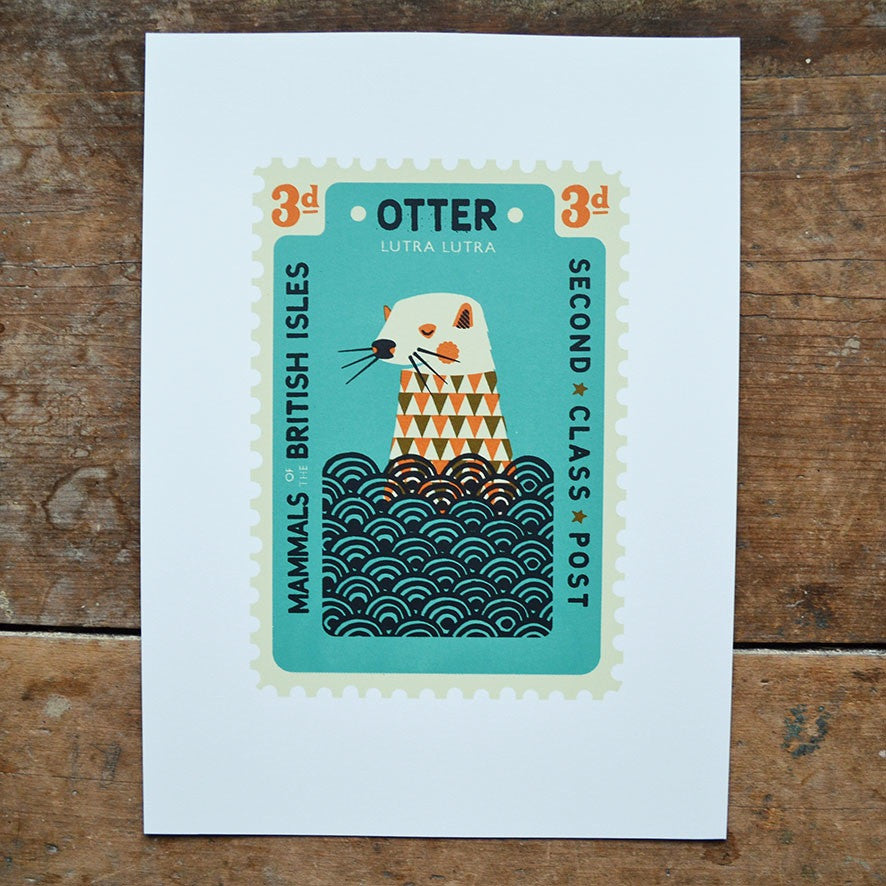 Otter Stamp Print by Tom Frost
